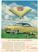 Vintage 1952 Magazine Ad for Cadillac It's A Whos Who of the Highway - $5.93