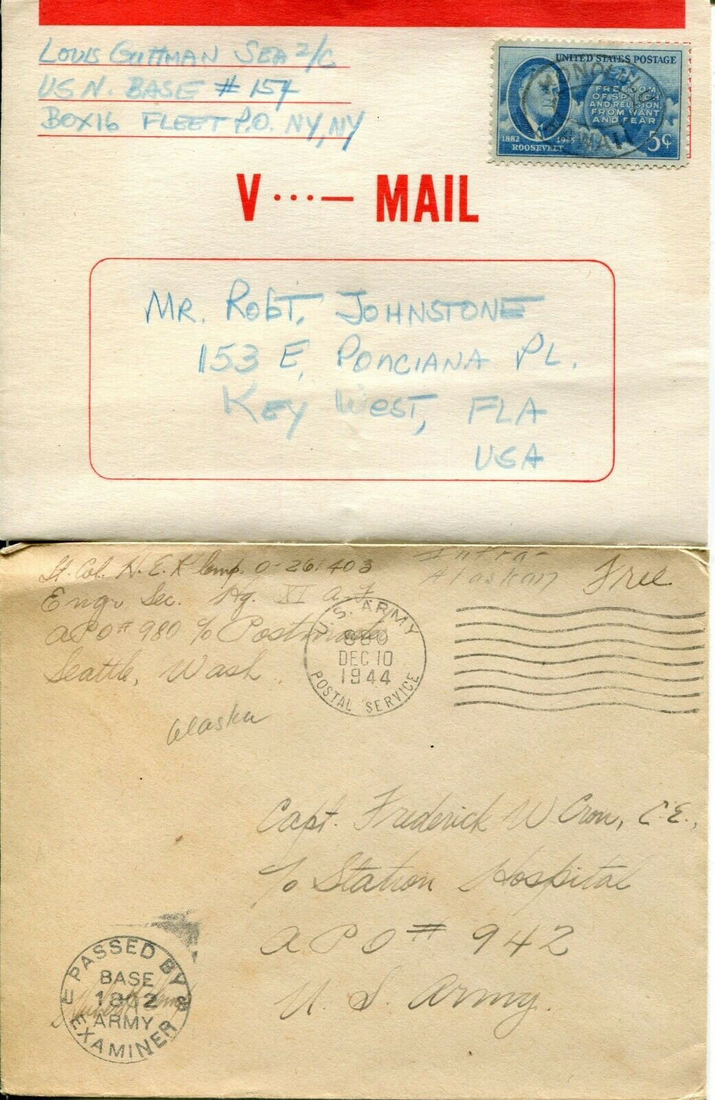 US Army Airmail WWII APO Navy Military Cover Examined Postage Collection  image 8
