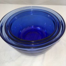 Set of 3 Vintage Cobalt Blue Anchor Hocking Ovenware Nesting Bowls - $44.06