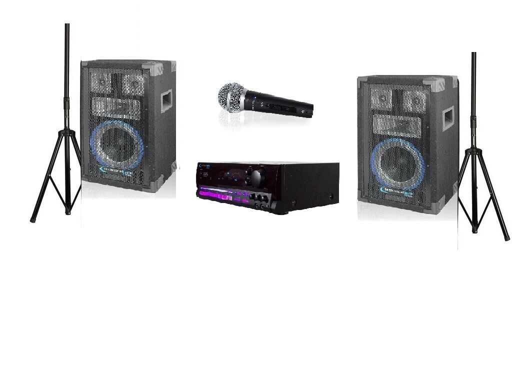 Technical Pro Soundblast-8 1500W System with DJ Speakers and Microphone