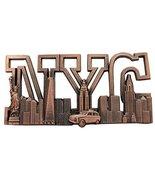 N.Y.C Text Long Metal Souvenir Fridge Magnet Empire State Skyline Buildi... - $4.99