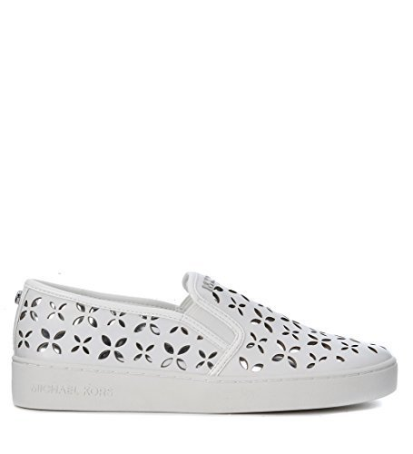 MICHAEL Michael Kors Women's Keaton Slip On Sneakers, Optic White/Silver, 8.5 B(