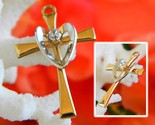 Cross charm pendant 14k gold filled silver heart love dainty two tone thumb155 crop