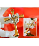 Cross Pendant Charm Two Tone 14K Gold Filled Silver Heart Love Dainty - $14.95