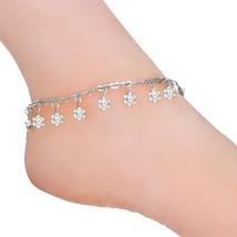 Rhinestone Charm Ankle Bracelet Platinum Plated Heart Link Anklets - $27.26