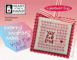 Merry Making Mini: Yay for Love valentine cross stitch chart Heart in Hand - $6.30