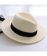Panama straw hat men women white cap wide brim summer hats hawaiian beach caps  1  thumbtall
