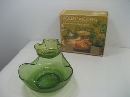 Vintage Accent Modern By Anchor Hocking 3 Piece Avocado Chip & Dip Set - $18.65