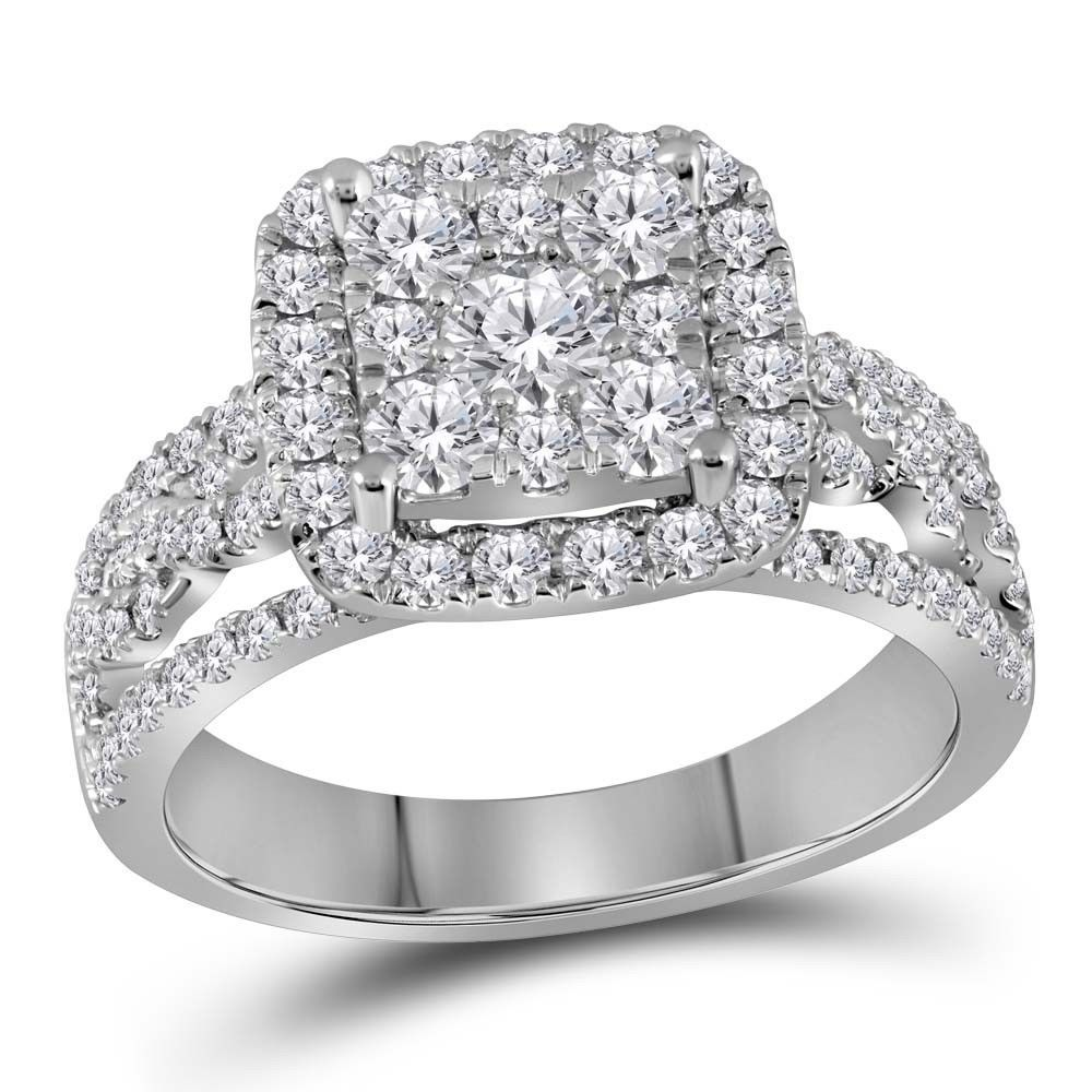 14kt White Gold Round Diamond Cluster Bridal Wedding Engagement Ring 1-1/2 Ctw - $1,781.29