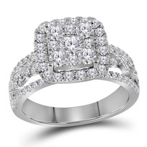 14kt White Gold Round Diamond Cluster Bridal Wedding Engagement Ring 1-1/2 Ctw - £1,456.30 GBP