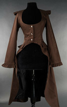 Brown Victorian Gothic Corset Back Jacket Long Flared Flowing Steampunk ... - $71.53
