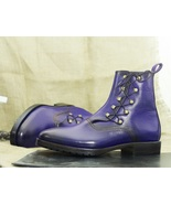 Men's Blue Ankle High Leather Side Lace Up Oxford Boot - $159.97 - $169.97