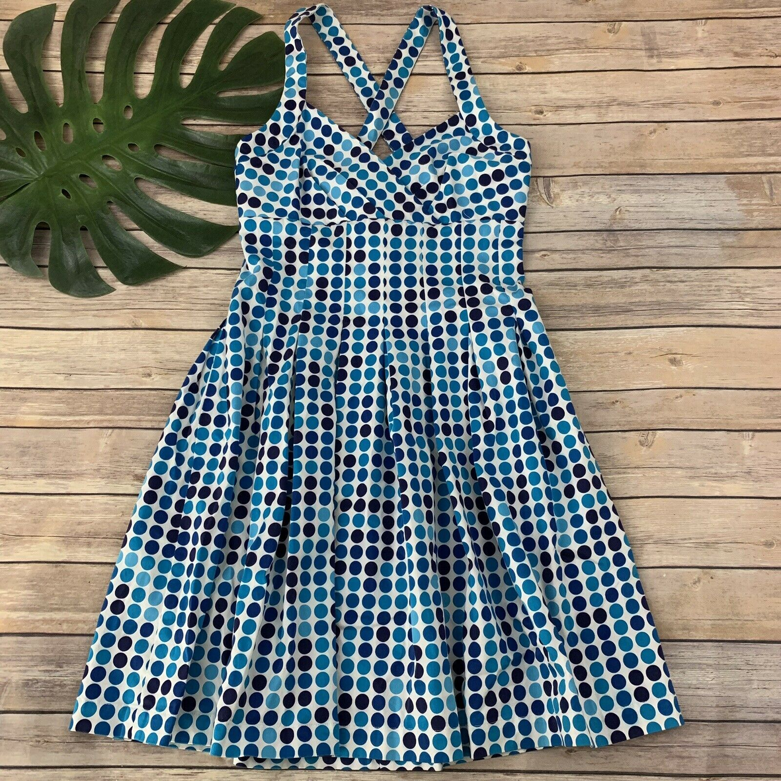 Primary image for Calvin Klein Polka Dot Dress Size 6 Blue White Fit Flare Knee Length Pleats