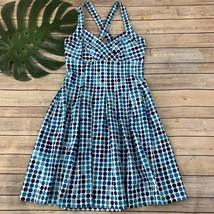 Calvin Klein Polka Dot Dress Size 6 Blue White Fit Flare Knee Length Pleats - $27.71