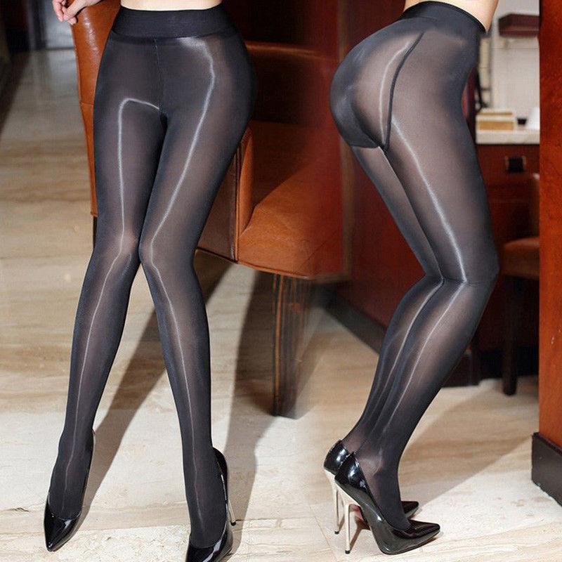 Shiny Glossy Crotch/Crotchless Sheer Stockings Club Dance Nylon Tights  Pantyhose