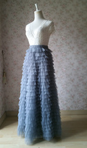 GREY Maxi Tulle Skirt Women's Tulle Skirts Outfits Tiered Tulle Skirt US0-US30