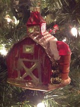 Christmas Ornament Red Barn Blown Glass Sullivans - $15.79