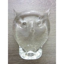 Vintage Clear Glass Owl Figurine Paperweight - $18.99