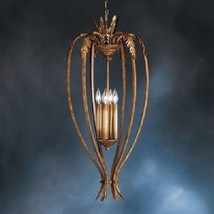 Crackle Gold Finish Chandelier Pendant Light Stamped Leaf Accents Foyer ... - $119.00