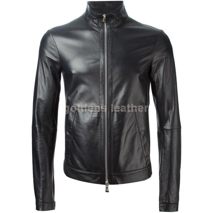 New Men's Stylish Lambskin Genuine Leather Motorcycle Biker Slim Fit Jacket GN17