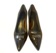 Authentic Coach Brown Suede Pumps w/ Metallic Silver Tips Size 6B - $53.46