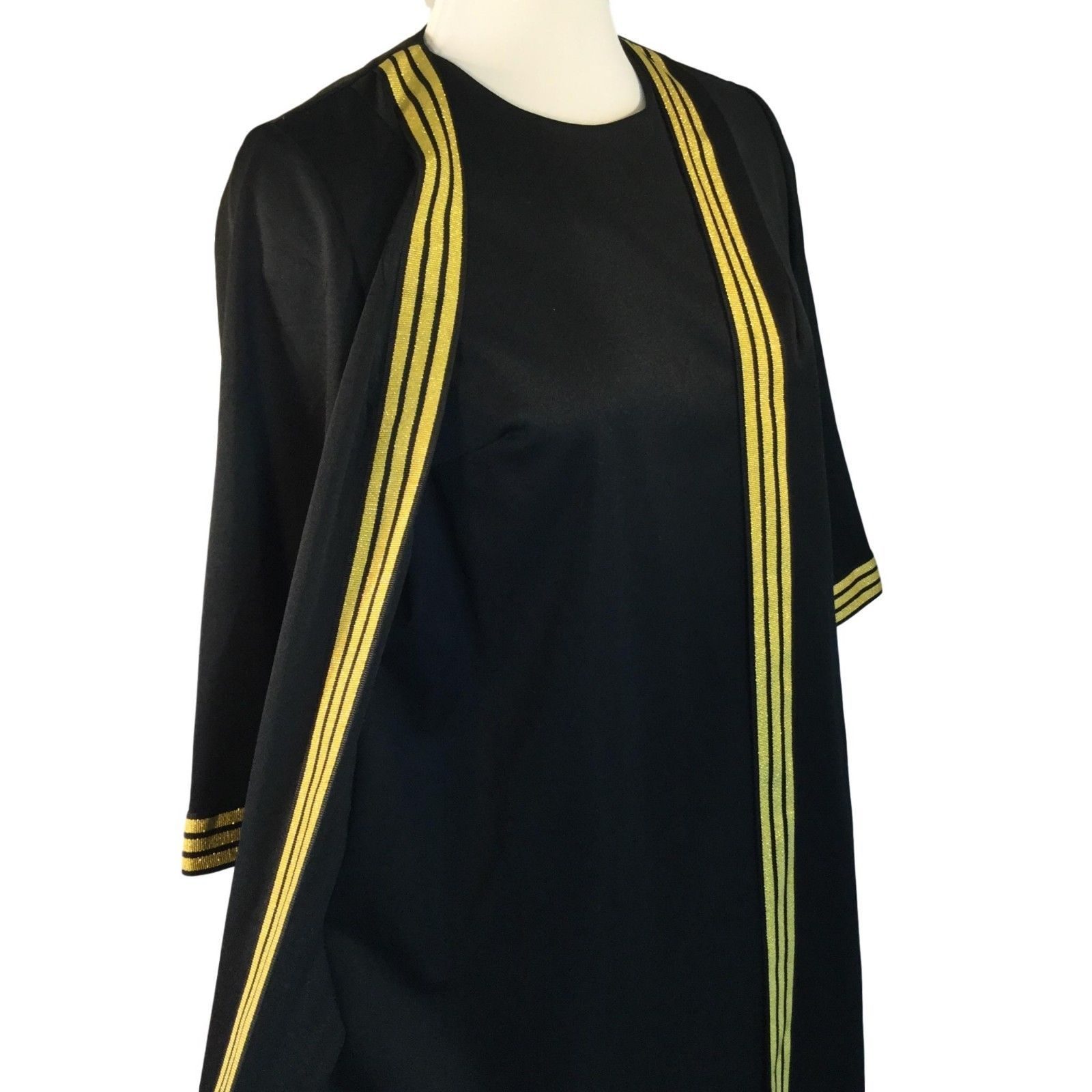 Vtg Berkshire B-Tween Black Gold Lurex Stripe Hostess Dress Jacket 1 pc Outfit M
