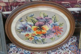 """Vintage Fine Finished Floral Needlepoint Hand Made 13"""" x 17"""" -  19"""" x 23... - £39.65 GBP"""