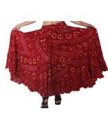 MAROON Cotton JAIPUR 25 Yard 4 Tier Gypsy Skirt Belly Dance Polka Dot - $51.93