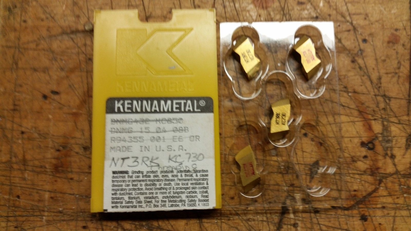 NT3RK KC730 TOP NOTCH KENNAMETAL PACK OF 4 INSERTS FACTORY PACK