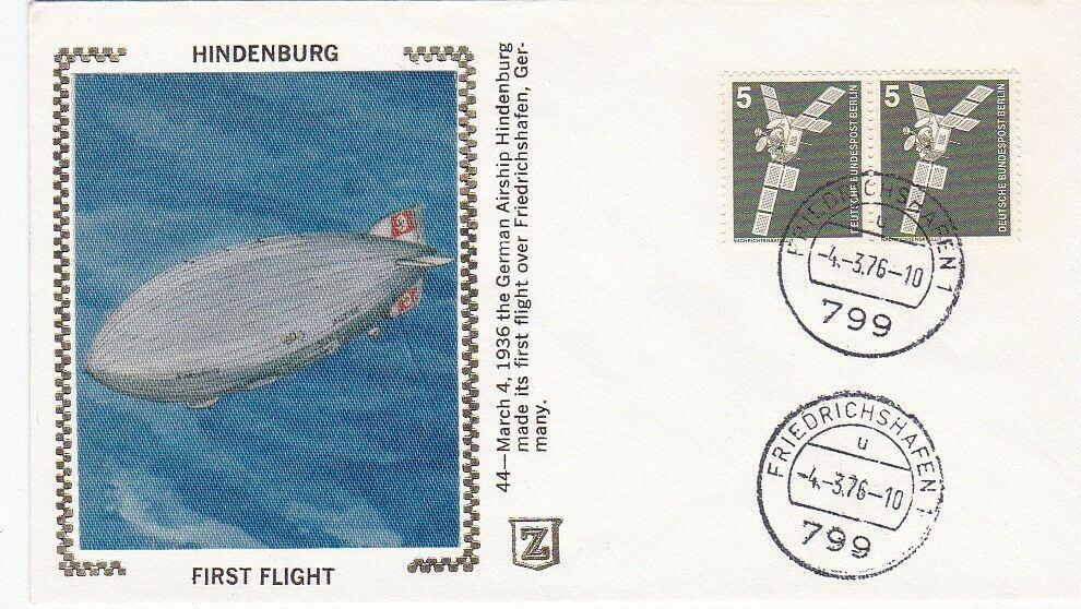 HINDENBURG FIRST FLIGHT 40th ANNIVERSARY FRIEDRICHSHAFEN MARCH 4 1976 Z SILK