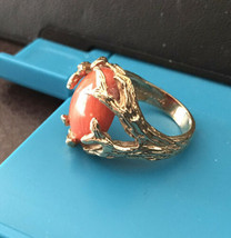 Vintage 10K Yellow Gold Oval Coral Ring Organic Branch Setting Size 7 - $272.25