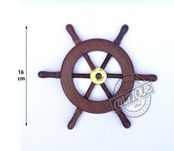 Vintage SHIP Wheel Wooden Wall Hanging Steering Wheel Nautical Boat Smal... - $20.44