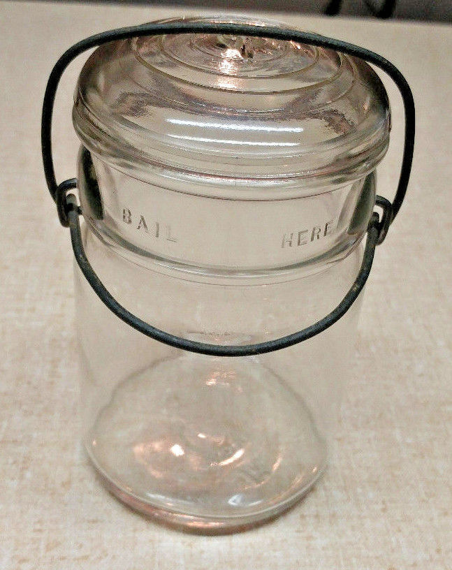 Primary image for Hazel Atlas Bail Pint Clear Glass Canning Jar 5802 9