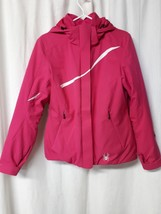 Women's SPYDER SNOW SKI WINTER JACKET SIZE 10 PINK  WHITE Trim Hooded - $37.56
