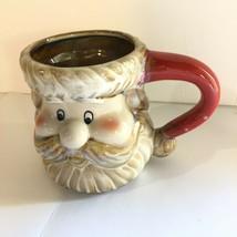 Rare Big Gibson Home Ceramic Rustic Happy Santa Claus Head Holiday Coffe... - $15.74