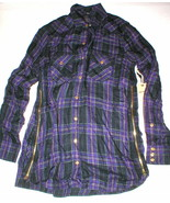 New Womens Designer True Religion XS Plaid Top Logo Black Purple NWT Tun... - $67.60