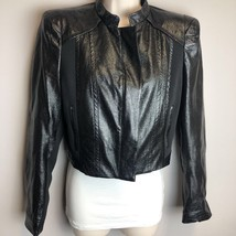 Forever 21 Womens Faux Leather Motorcycle Jacket Black Cropped Full Zip L - $13.09