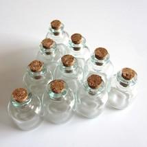 Small Glass Bottle Clear Empty Jars Vials Bottles Corks 10 Pcs Wish Wedd... - $6.80