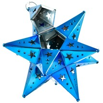 "Small 6.5"" Hanging Tin Indigo Blue Mexican Moravian Star Ornament Decoration image 2"