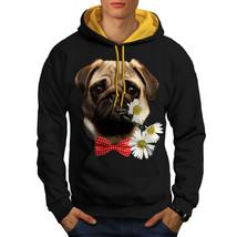 Pug Puppy Admirer Sweatshirt Hoody Date Flower Men Contrast Hoodie - $23.99+