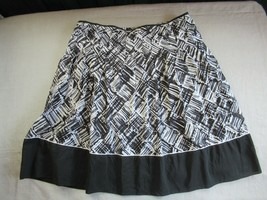 Talbots skirt fit & flare pleated12P black white print lined cotton silk... - $14.65