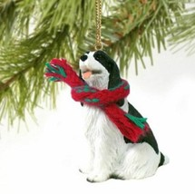 SPRINGER SPANIEL BLACK WHITE DOG CHRISTMAS ORNAMENT HOLIDAY Figurine Sca... - $10.99