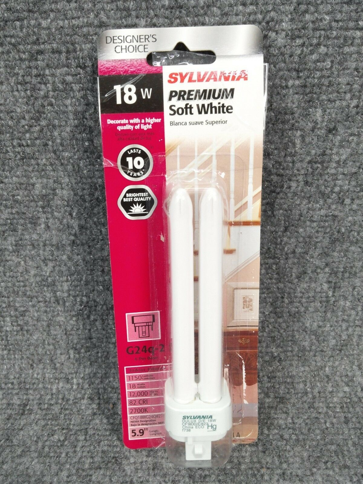 Primary image for SYLVANIA 18-Watt (75W) Double Tube G24q-2 Pin Base Soft White Dimmable CFL Bulb