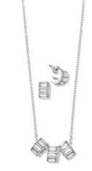 Avon Triple Sparkle Necklace & Earring Gift Set Silverstone