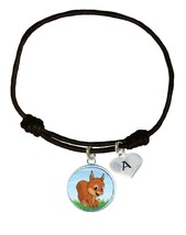 Custom Baby Squirrel Pup Black Unisex Bracelet Jewelry Gift Choose Initial Charm - $13.94