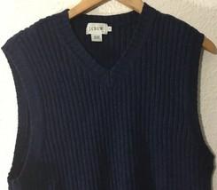 J. Crew Mens  Wool Ribbed V-Neck Sweater Vest Size L Blue - $28.21