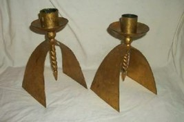 ARTS & CRAFTS MISSION GILT IRON CANDLE HOLDERS HAND WROUGHT DOWNWARD SPIRAL - $168.99