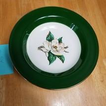 Lifetime China Jaderose Soup Bowl Green White Beige Flower Gold Trim - $5.89