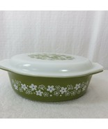 Vintage Pyrex Spring Blossom Crazy Daisy 045 Oval Casserole with Lid  - $39.55