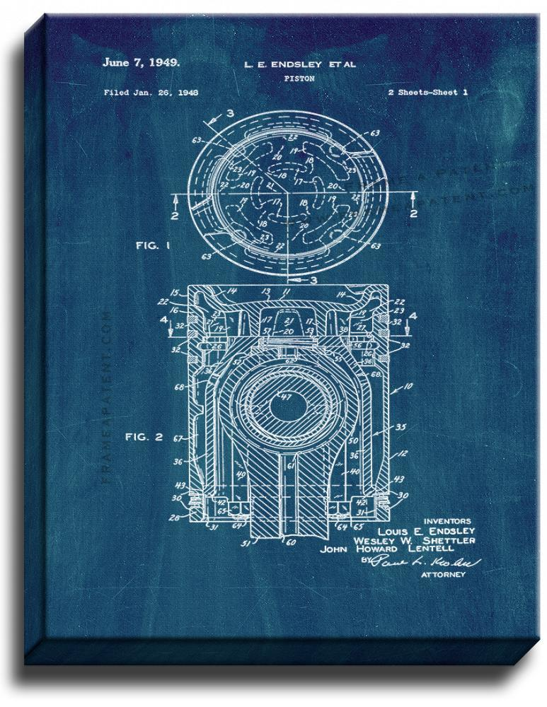 Primary image for Piston Patent Print Midnight Blue on Canvas